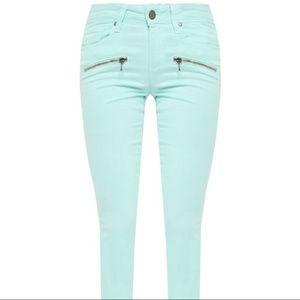 PAIGE zip ultra skinny mint green wash jeans sz 27